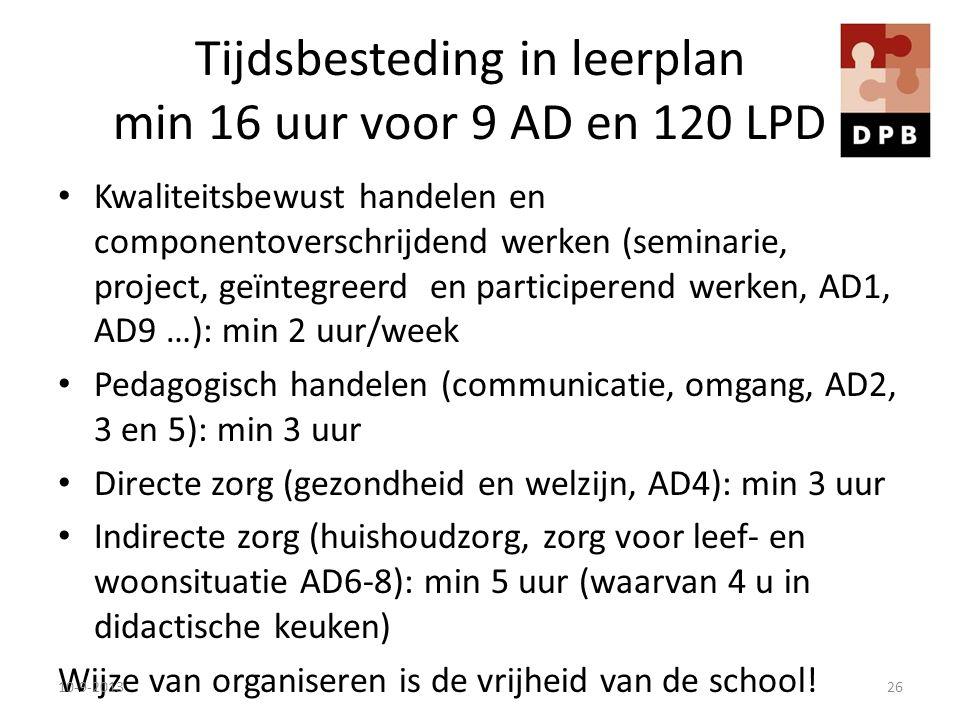 Tijdsbesteding in leerplan min 16 uur voor 9 AD en 120 LPD Kwaliteitsbewust handelen en componentoverschrijdend werken (seminarie, project, geïntegree
