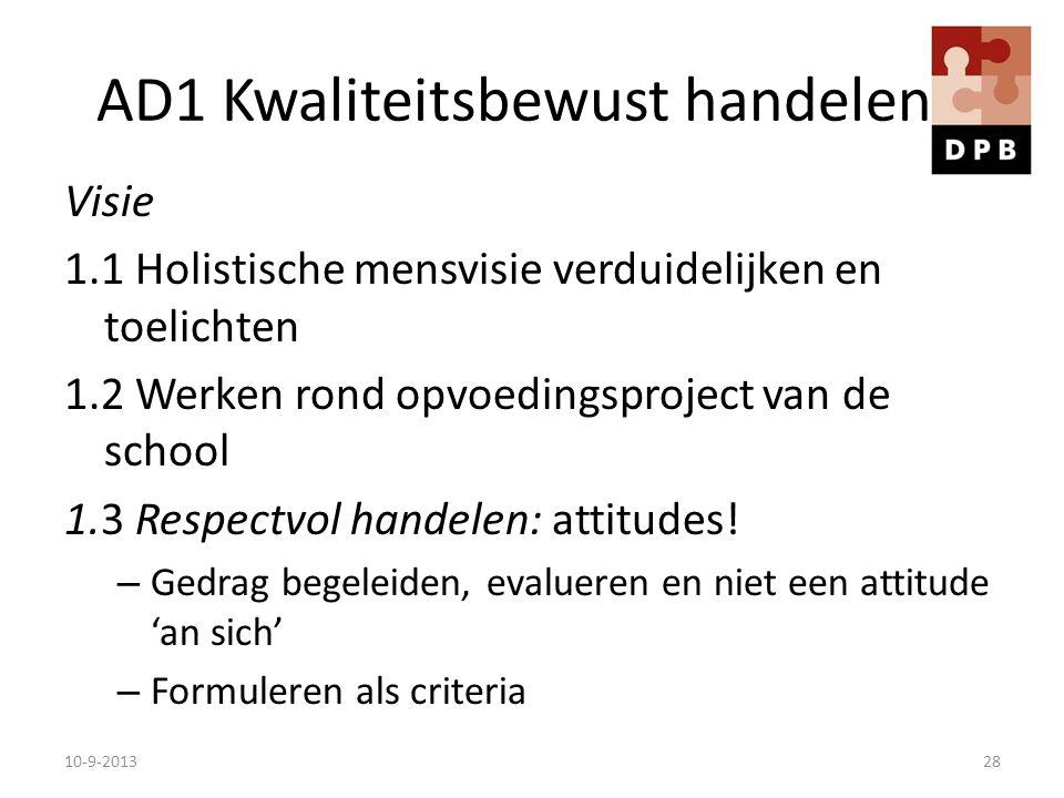 AD1 Kwaliteitsbewust handelen Visie 1.1 Holistische mensvisie verduidelijken en toelichten 1.2 Werken rond opvoedingsproject van de school 1.3 Respect