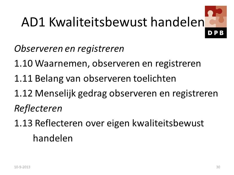 AD1 Kwaliteitsbewust handelen Observeren en registreren 1.10 Waarnemen, observeren en registreren 1.11 Belang van observeren toelichten 1.12 Menselijk