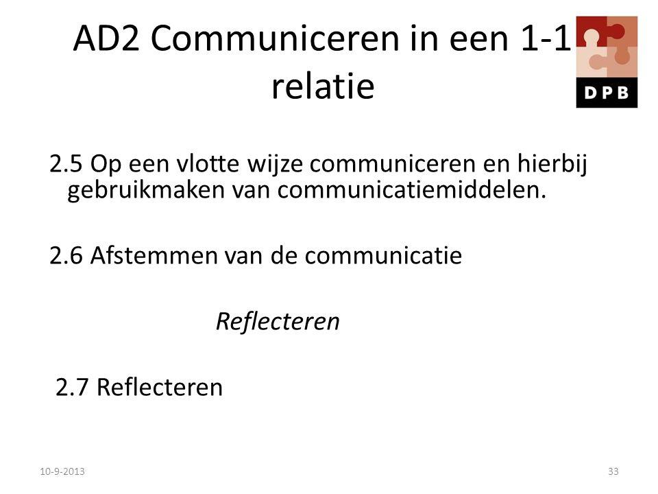 AD2 Communiceren in een 1-1 relatie 2.5 Op een vlotte wijze communiceren en hierbij gebruikmaken van communicatiemiddelen. 2.6 Afstemmen van de commun
