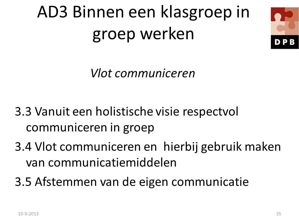 AD3 Binnen een klasgroep in groep werken Vlot communiceren 3.3 Vanuit een holistische visie respectvol communiceren in groep 3.4 Vlot communiceren en