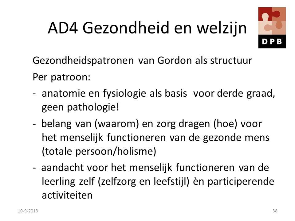 AD4 Gezondheid en welzijn Gezondheidspatronen van Gordon als structuur Per patroon: -anatomie en fysiologie als basis voor derde graad, geen pathologi