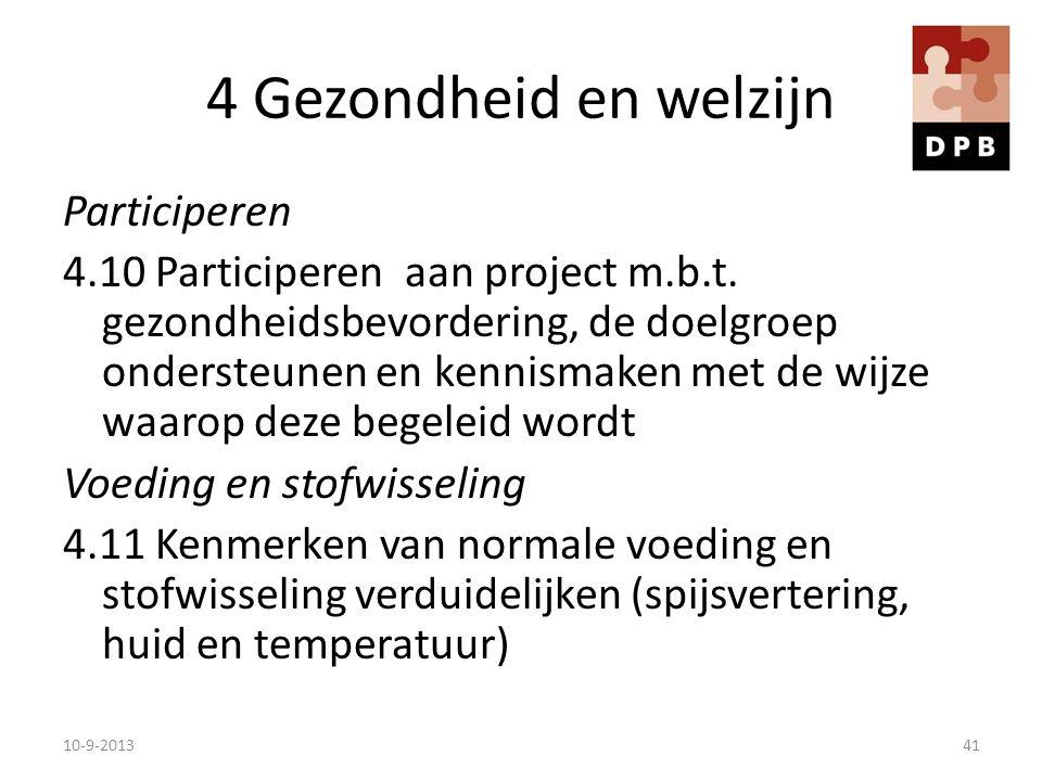 4 Gezondheid en welzijn Participeren 4.10 Participeren aan project m.b.t. gezondheidsbevordering, de doelgroep ondersteunen en kennismaken met de wijz