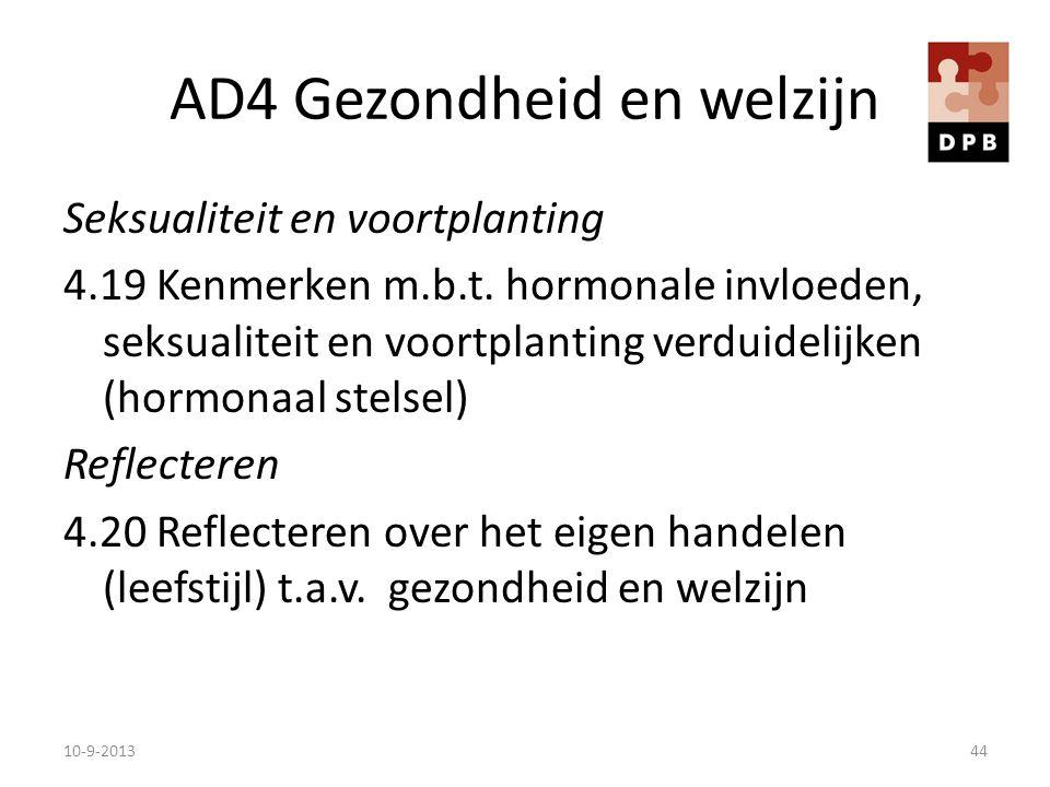 AD4 Gezondheid en welzijn Seksualiteit en voortplanting 4.19 Kenmerken m.b.t. hormonale invloeden, seksualiteit en voortplanting verduidelijken (hormo