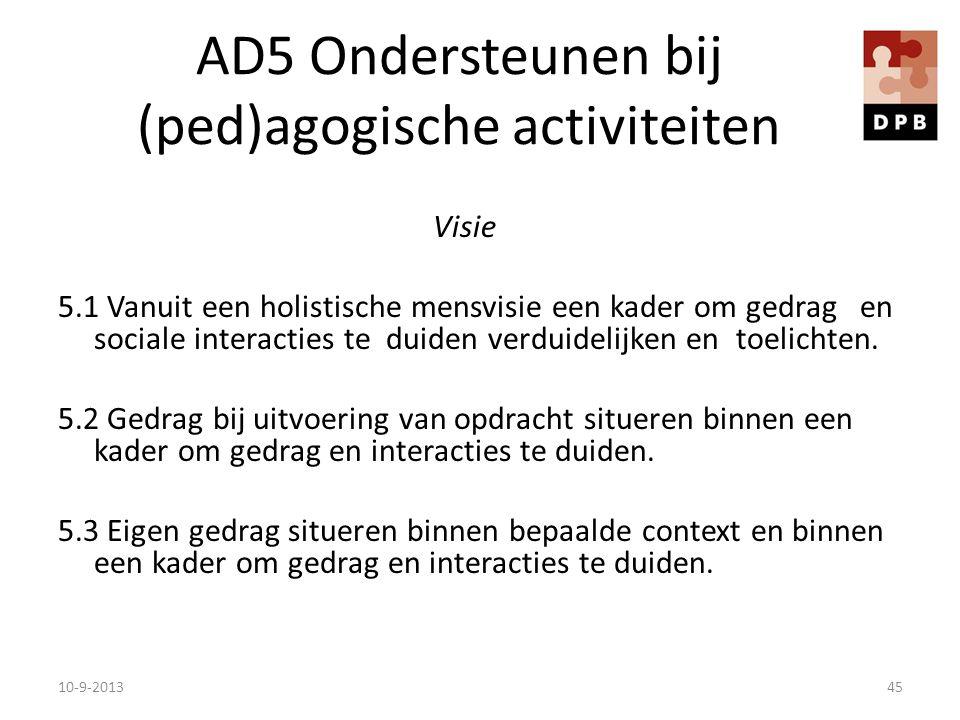 AD5 Ondersteunen bij (ped)agogische activiteiten Visie 5.1 Vanuit een holistische mensvisie een kader om gedrag en sociale interacties te duiden verdu