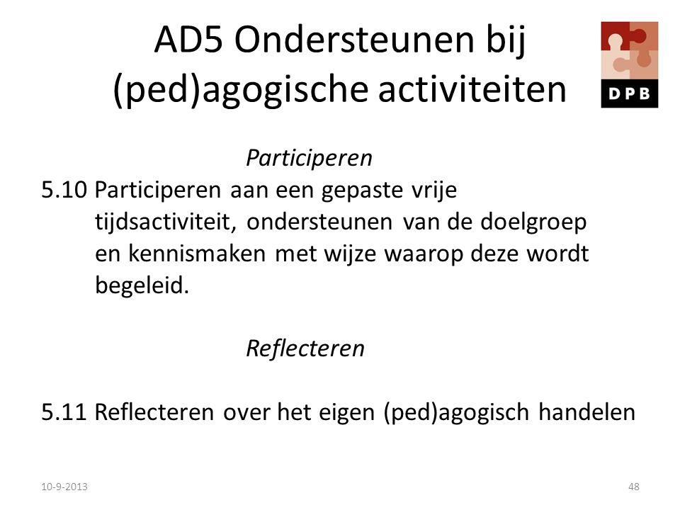 AD5 Ondersteunen bij (ped)agogische activiteiten Participeren 5.10 Participeren aan een gepaste vrije tijdsactiviteit, ondersteunen van de doelgroep e