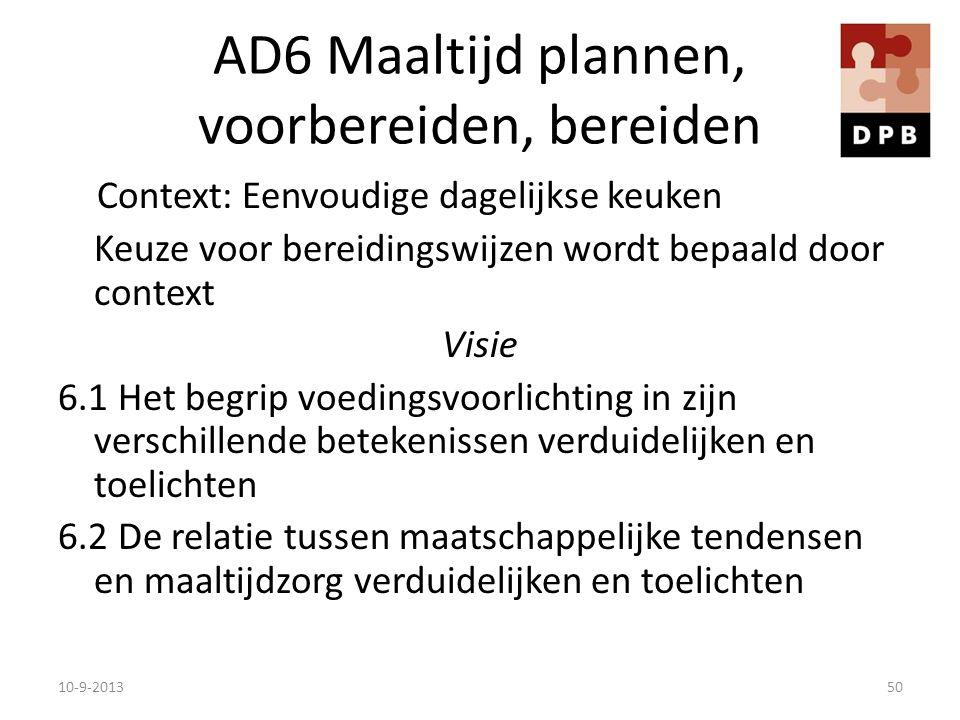 AD6 Maaltijd plannen, voorbereiden, bereiden Context: Eenvoudige dagelijkse keuken Keuze voor bereidingswijzen wordt bepaald door context Visie 6.1 He