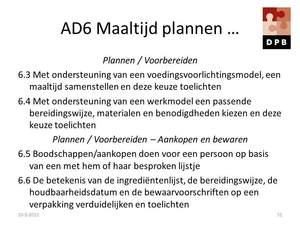 AD6 Maaltijd plannen … Plannen / Voorbereiden 6.3 Met ondersteuning van een voedingsvoorlichtingsmodel, een maaltijd samenstellen en deze keuze toelic