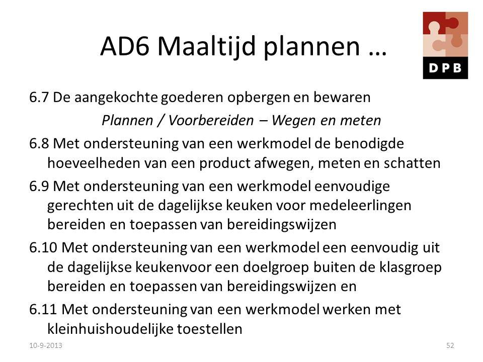 AD6 Maaltijd plannen … 6.7 De aangekochte goederen opbergen en bewaren Plannen / Voorbereiden – Wegen en meten 6.8 Met ondersteuning van een werkmodel