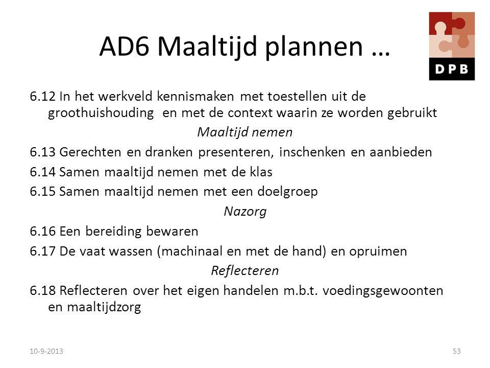 AD6 Maaltijd plannen … 6.12 In het werkveld kennismaken met toestellen uit de groothuishouding en met de context waarin ze worden gebruikt Maaltijd ne