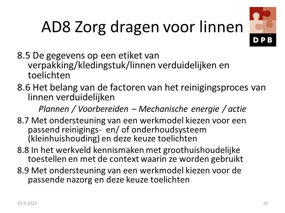 AD8 Zorg dragen voor linnen 8.5 De gegevens op een etiket van verpakking/kledingstuk/linnen verduidelijken en toelichten 8.6 Het belang van de factore