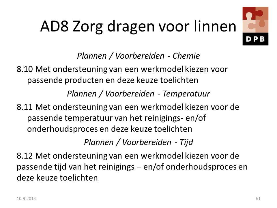 AD8 Zorg dragen voor linnen Plannen / Voorbereiden - Chemie 8.10 Met ondersteuning van een werkmodel kiezen voor passende producten en deze keuze toel