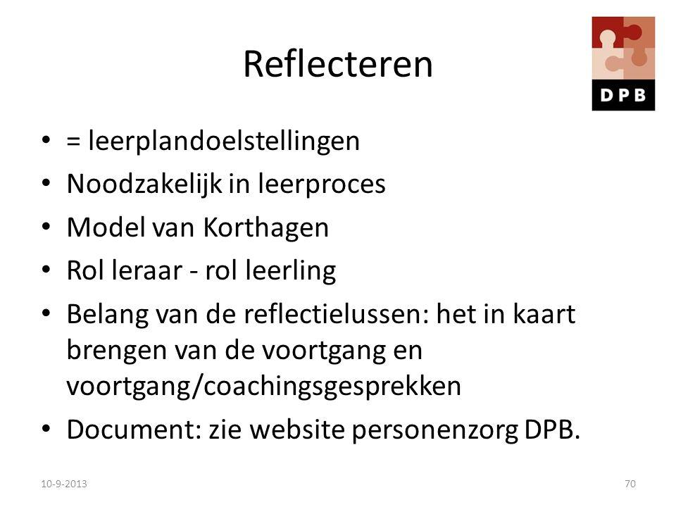 Reflecteren = leerplandoelstellingen Noodzakelijk in leerproces Model van Korthagen Rol leraar - rol leerling Belang van de reflectielussen: het in ka