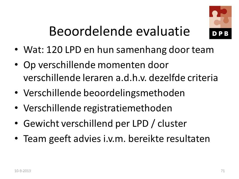 Beoordelende evaluatie Wat: 120 LPD en hun samenhang door team Op verschillende momenten door verschillende leraren a.d.h.v. dezelfde criteria Verschi