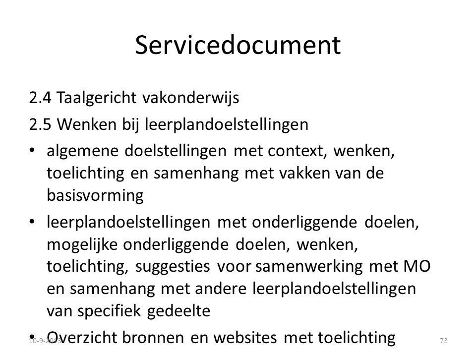 Servicedocument 2.4 Taalgericht vakonderwijs 2.5 Wenken bij leerplandoelstellingen algemene doelstellingen met context, wenken, toelichting en samenha