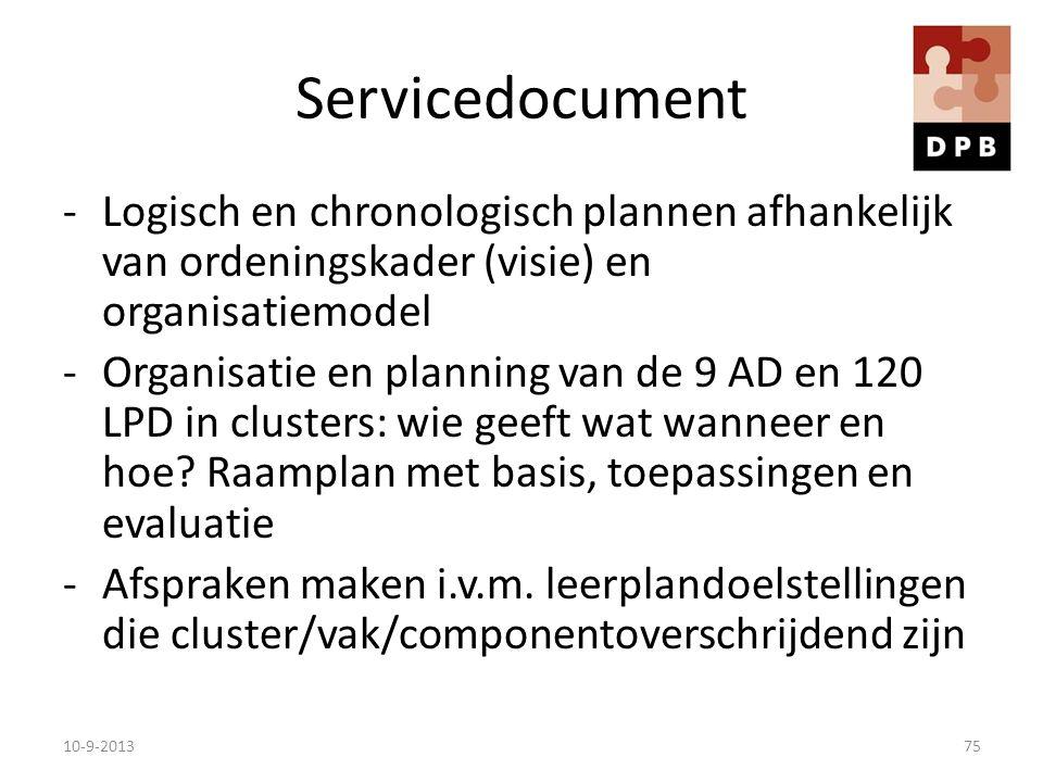 Servicedocument -Logisch en chronologisch plannen afhankelijk van ordeningskader (visie) en organisatiemodel -Organisatie en planning van de 9 AD en 1