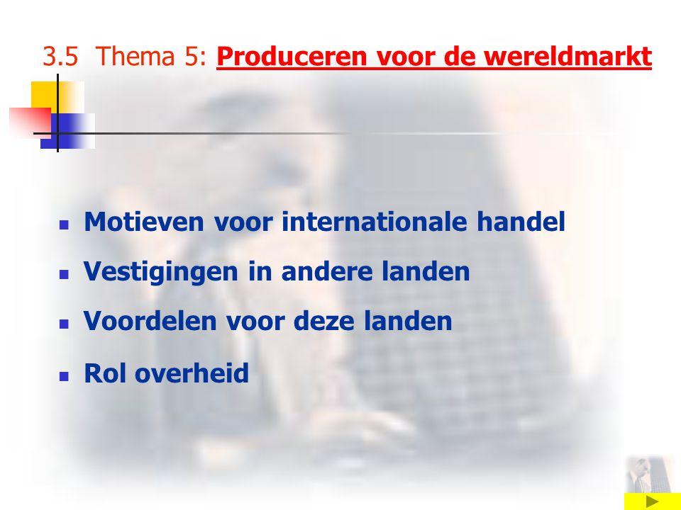 3.5 Thema 5: Produceren voor de wereldmarktProduceren voor de wereldmarkt Motieven voor internationale handel Vestigingen in andere landen Voordelen voor deze landen Rol overheid