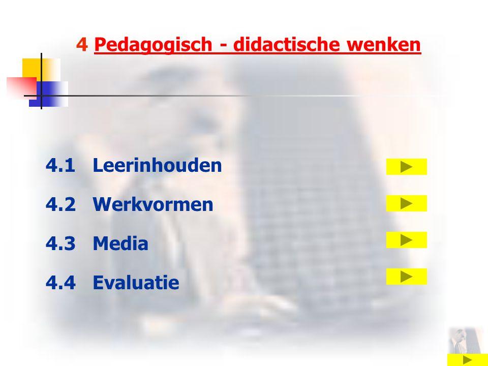 4 Pedagogisch - didactische wenkenPedagogisch - didactische wenken 4.1 Leerinhouden 4.2 Werkvormen 4.3 Media 4.4 Evaluatie