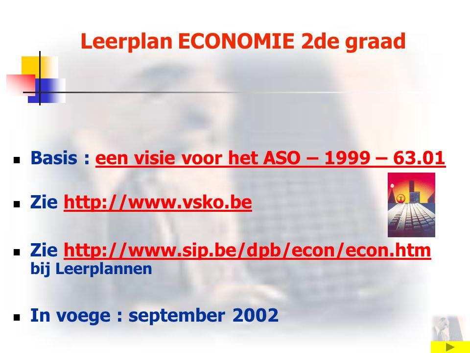 Leerplan ECONOMIE 2de graad Basis : een visie voor het ASO – 1999 – 63.01 een visie voor het ASO – 1999 – 63.01 Zie http://www.vsko.behttp://www.vsko.be Zie http://www.sip.be/dpb/econ/econ.htm bij Leerplannenhttp://www.sip.be/dpb/econ/econ.htm In voege : september 2002