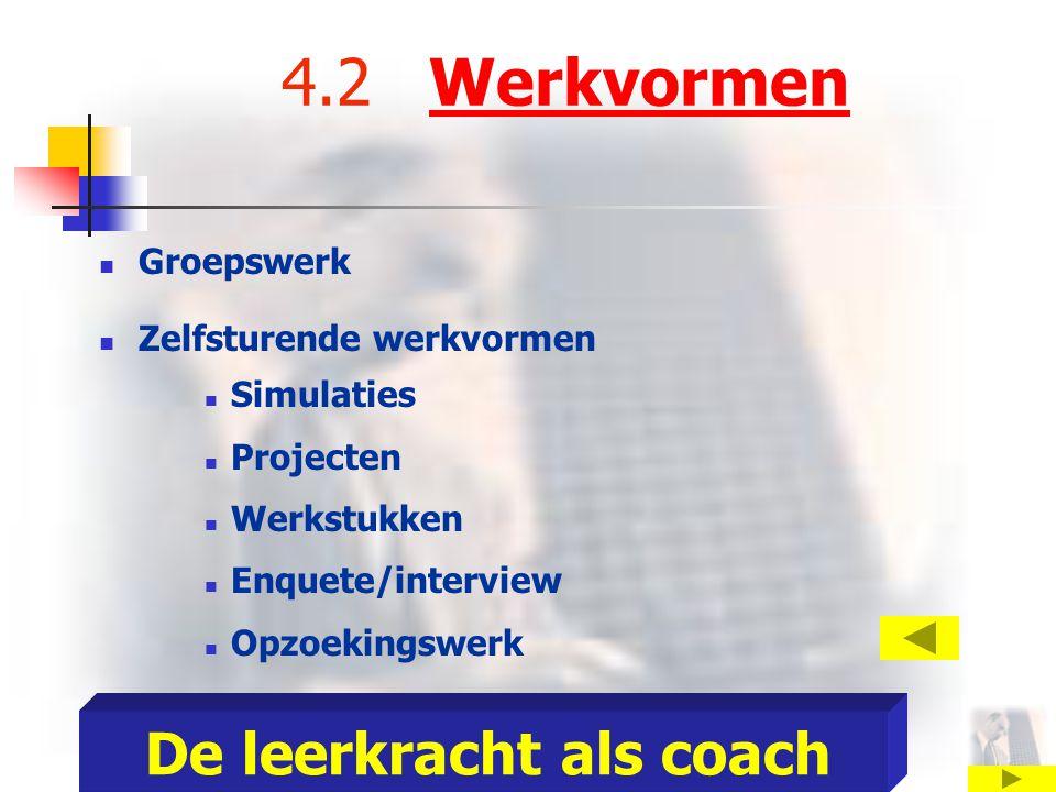 4.2 WerkvormenWerkvormen Groepswerk Zelfsturende werkvormen Simulaties Projecten Werkstukken Enquete/interview Opzoekingswerk De leerkracht als coach