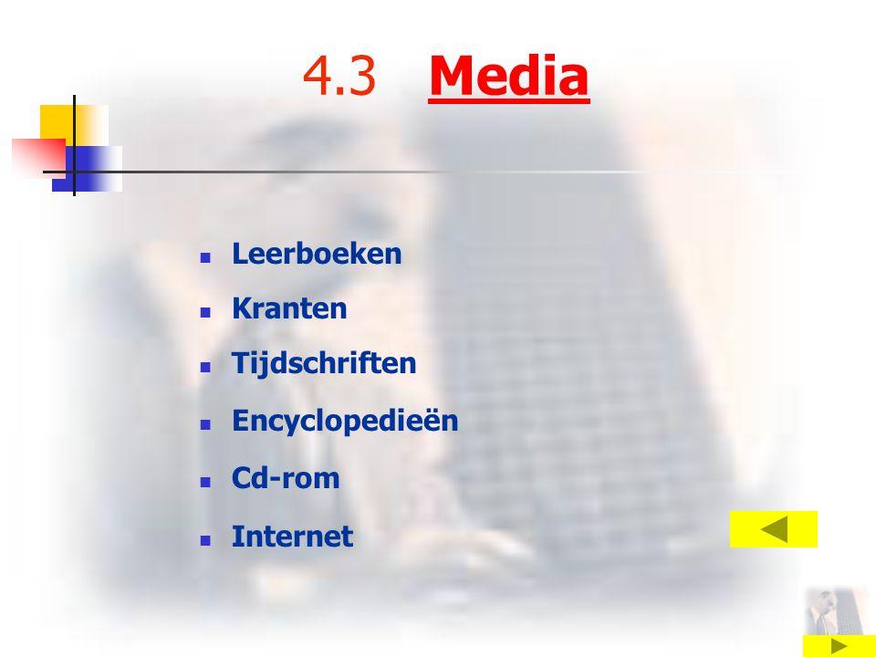 4.3 MediaMedia Leerboeken Kranten Tijdschriften Encyclopedieën Cd-rom Internet