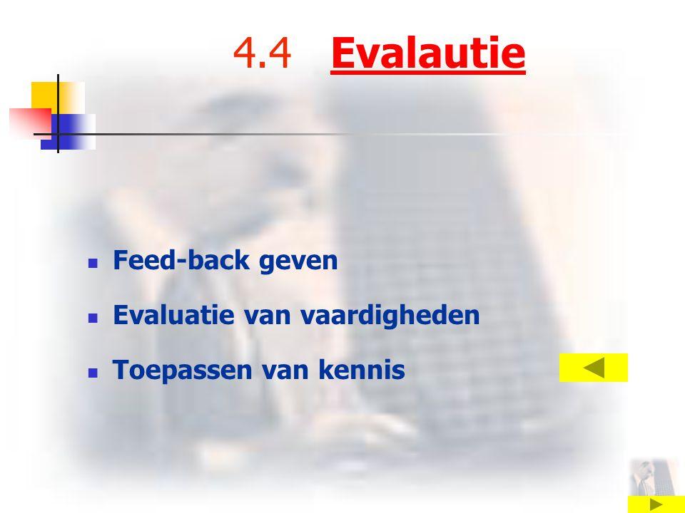 4.4 EvalautieEvalautie Feed-back geven Evaluatie van vaardigheden Toepassen van kennis
