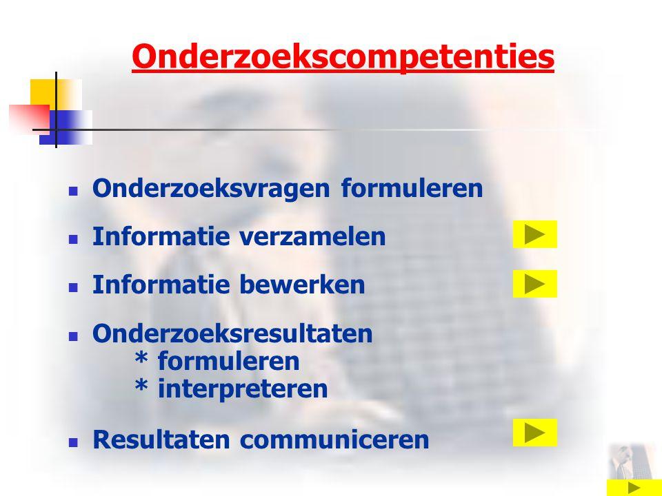 Onderzoekscompetenties Onderzoeksvragen formuleren Informatie verzamelen Informatie bewerken Onderzoeksresultaten * formuleren * interpreteren Resultaten communiceren