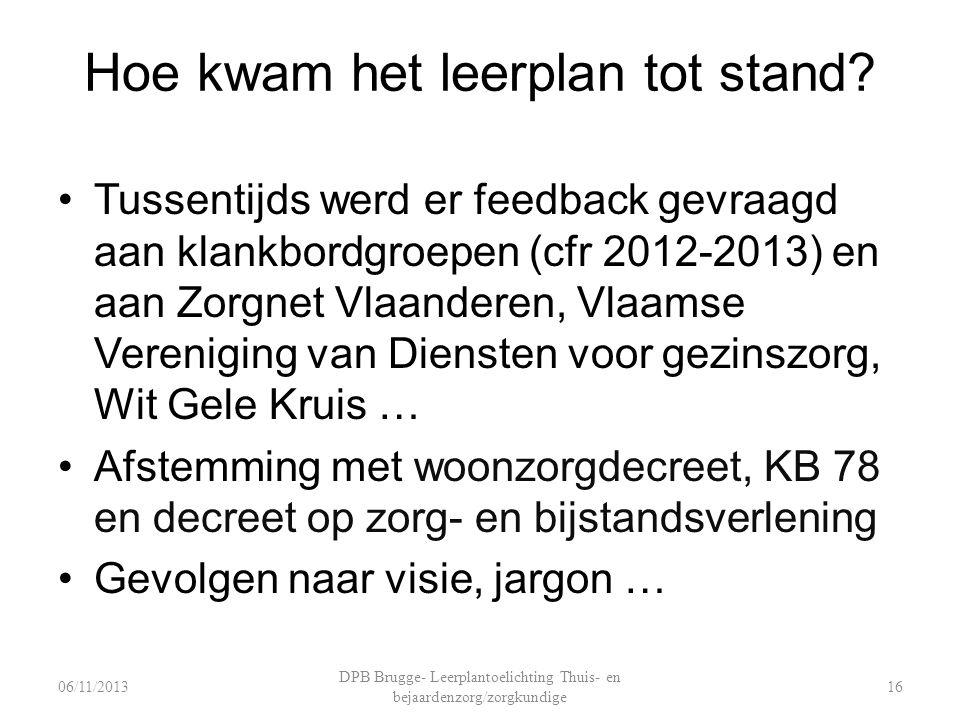 Hoe kwam het leerplan tot stand? Tussentijds werd er feedback gevraagd aan klankbordgroepen (cfr 2012-2013) en aan Zorgnet Vlaanderen, Vlaamse Verenig