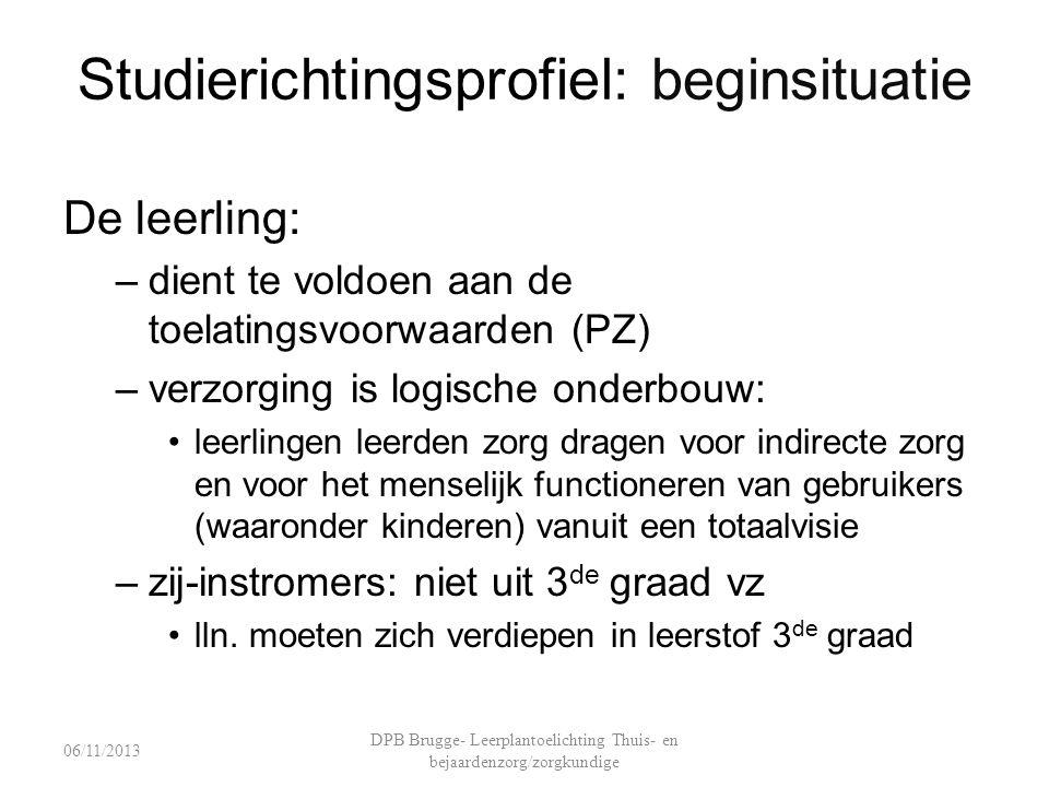 Studierichtingsprofiel: beginsituatie De leerling: –dient te voldoen aan de toelatingsvoorwaarden (PZ) –verzorging is logische onderbouw: leerlingen l