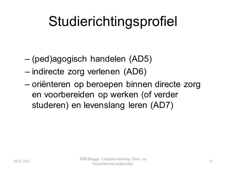 Studierichtingsprofiel –(ped)agogisch handelen (AD5) –indirecte zorg verlenen (AD6) –oriënteren op beroepen binnen directe zorg en voorbereiden op werken (of verder studeren) en levenslang leren (AD7) DPB Brugge- Leerplantoelichting Thuis- en bejaardenzorg/zorgkundige 2406/11/2013