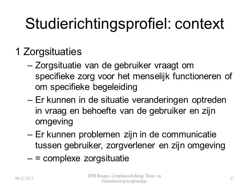 Studierichtingsprofiel: context 1 Zorgsituaties –Zorgsituatie van de gebruiker vraagt om specifieke zorg voor het menselijk functioneren of om specifi