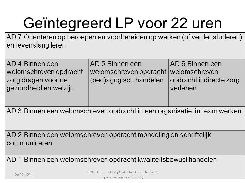 Geïntegreerd LP voor 22 uren AD 7 Oriënteren op beroepen en voorbereiden op werken (of verder studeren) en levenslang leren AD 4 Binnen een welomschre