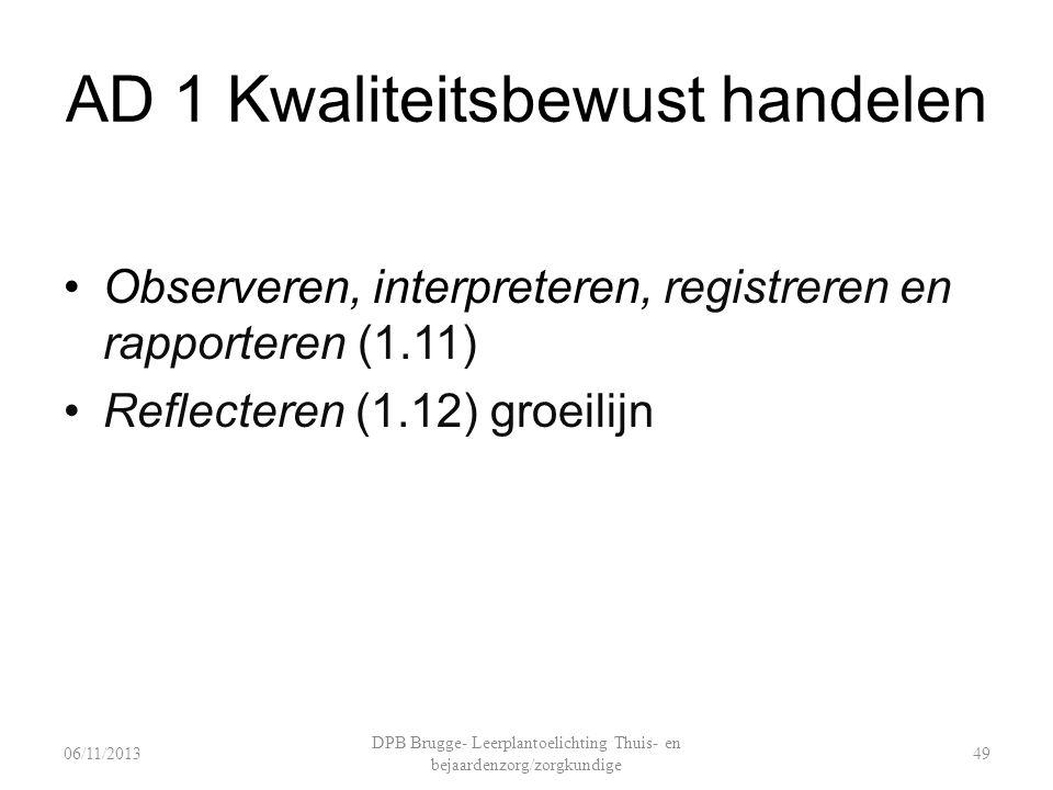 AD 1 Kwaliteitsbewust handelen Observeren, interpreteren, registreren en rapporteren (1.11) Reflecteren (1.12) groeilijn 06/11/2013 DPB Brugge- Leerplantoelichting Thuis- en bejaardenzorg/zorgkundige 49