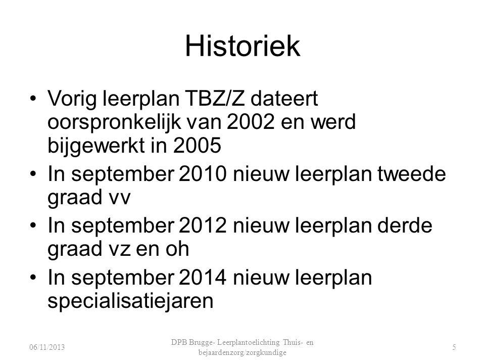 Historiek Vorig leerplan TBZ/Z dateert oorspronkelijk van 2002 en werd bijgewerkt in 2005 In september 2010 nieuw leerplan tweede graad vv In septembe