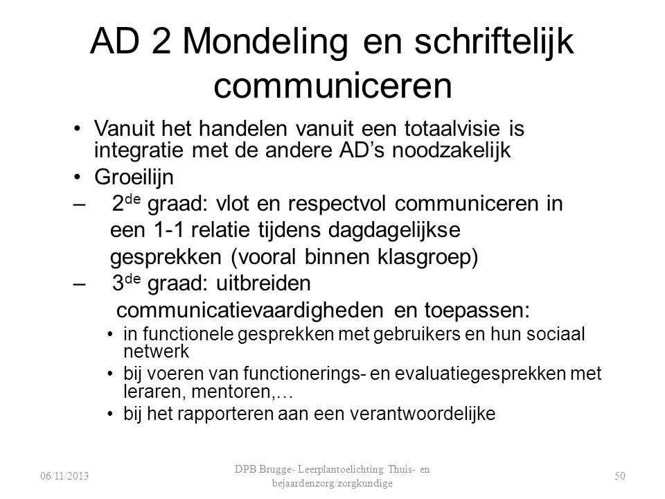 AD 2 Mondeling en schriftelijk communiceren Vanuit het handelen vanuit een totaalvisie is integratie met de andere AD's noodzakelijk Groeilijn – 2 de