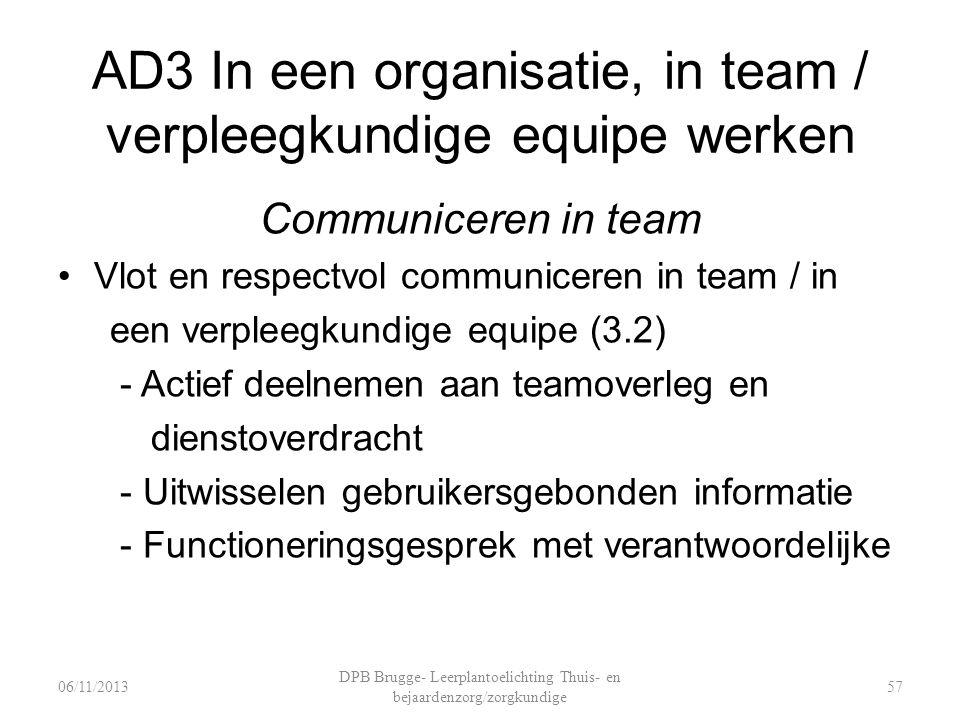 AD3 In een organisatie, in team / verpleegkundige equipe werken Communiceren in team Vlot en respectvol communiceren in team / in een verpleegkundige equipe (3.2) - Actief deelnemen aan teamoverleg en dienstoverdracht - Uitwisselen gebruikersgebonden informatie - Functioneringsgesprek met verantwoordelijke DPB Brugge- Leerplantoelichting Thuis- en bejaardenzorg/zorgkundige 5706/11/2013