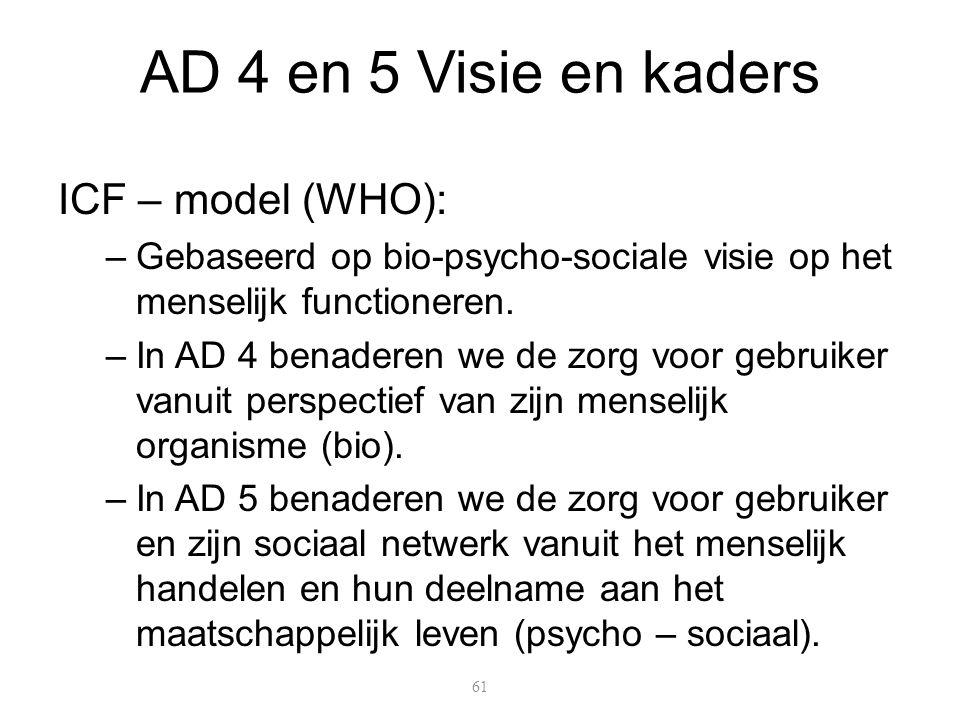 AD 4 en 5 Visie en kaders ICF – model (WHO): –Gebaseerd op bio-psycho-sociale visie op het menselijk functioneren. –In AD 4 benaderen we de zorg voor