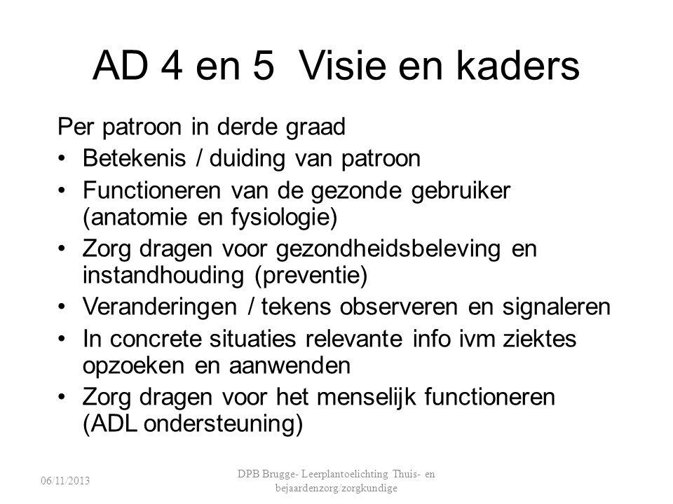 AD 4 en 5 Visie en kaders Per patroon in derde graad Betekenis / duiding van patroon Functioneren van de gezonde gebruiker (anatomie en fysiologie) Zo