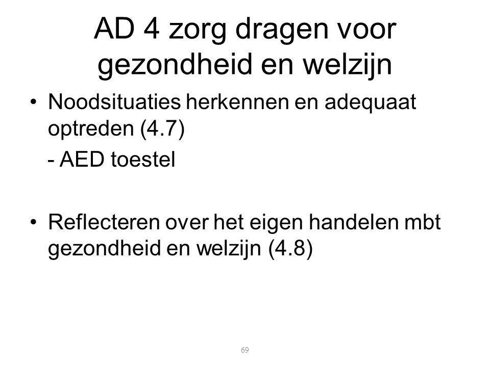 Noodsituaties herkennen en adequaat optreden (4.7) - AED toestel Reflecteren over het eigen handelen mbt gezondheid en welzijn (4.8) 69 AD 4 zorg dragen voor gezondheid en welzijn