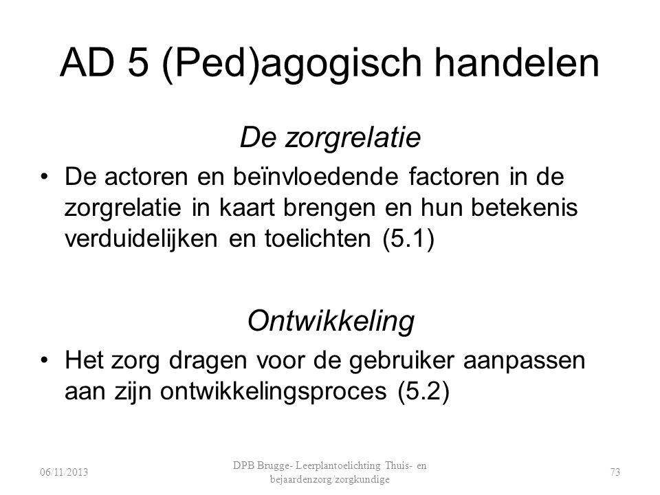 AD 5 (Ped)agogisch handelen De zorgrelatie De actoren en beïnvloedende factoren in de zorgrelatie in kaart brengen en hun betekenis verduidelijken en toelichten (5.1) Ontwikkeling Het zorg dragen voor de gebruiker aanpassen aan zijn ontwikkelingsproces (5.2) DPB Brugge- Leerplantoelichting Thuis- en bejaardenzorg/zorgkundige 7306/11/2013