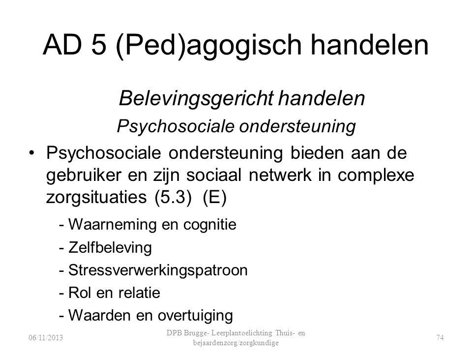 AD 5 (Ped)agogisch handelen Belevingsgericht handelen Psychosociale ondersteuning Psychosociale ondersteuning bieden aan de gebruiker en zijn sociaal netwerk in complexe zorgsituaties (5.3) (E) - Waarneming en cognitie - Zelfbeleving - Stressverwerkingspatroon - Rol en relatie - Waarden en overtuiging DPB Brugge- Leerplantoelichting Thuis- en bejaardenzorg/zorgkundige 7406/11/2013