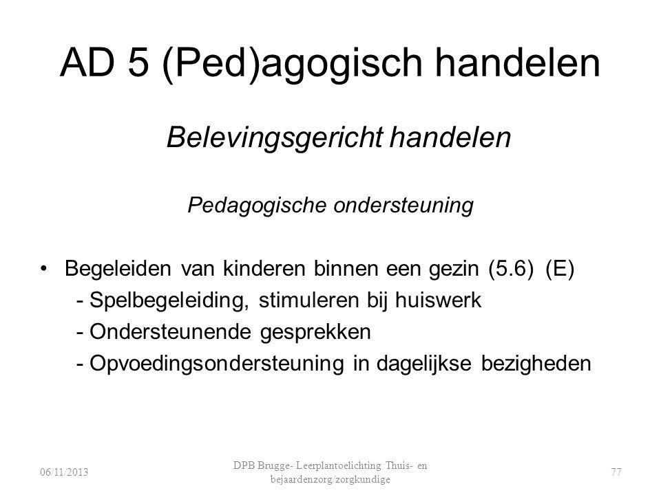 AD 5 (Ped)agogisch handelen Belevingsgericht handelen Pedagogische ondersteuning Begeleiden van kinderen binnen een gezin (5.6) (E) - Spelbegeleiding, stimuleren bij huiswerk - Ondersteunende gesprekken - Opvoedingsondersteuning in dagelijkse bezigheden DPB Brugge- Leerplantoelichting Thuis- en bejaardenzorg/zorgkundige 7706/11/2013