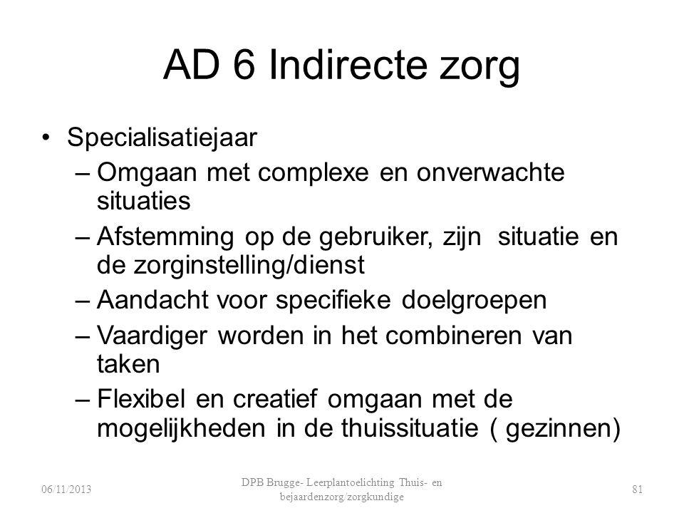 AD 6 Indirecte zorg Specialisatiejaar –Omgaan met complexe en onverwachte situaties –Afstemming op de gebruiker, zijn situatie en de zorginstelling/di