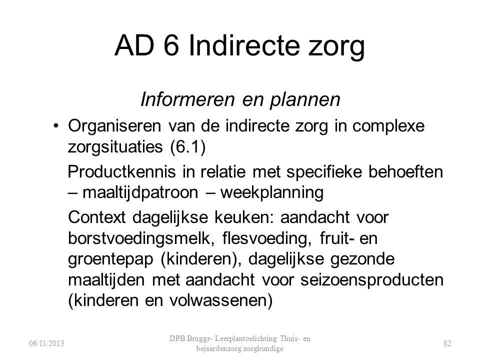 AD 6 Indirecte zorg Informeren en plannen Organiseren van de indirecte zorg in complexe zorgsituaties (6.1) Productkennis in relatie met specifieke be