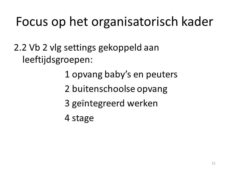 Focus op het organisatorisch kader 2.2 Vb 2 vlg settings gekoppeld aan leeftijdsgroepen: 1 opvang baby's en peuters 2 buitenschoolse opvang 3 geïntegr