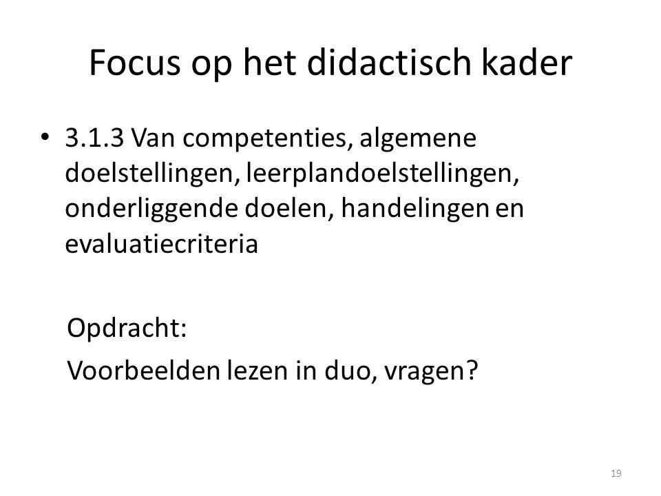 Focus op het didactisch kader 3.1.4 Leren in samenhang of integratie en groei Eerste stap: kennis, vaardigheden en attitudes binnen 1 LPD (op basis van onderliggende doelen) Tweede stap: verschillende LPD in 1 AD Derde stap: verschillende AD's in 1 competentie Vb Lezen in trio … en dan eigen vb met concreet lessenreeks scenario (volgorde, structuur, werkvormen …) op poster om dit plenair toe te lichten 20