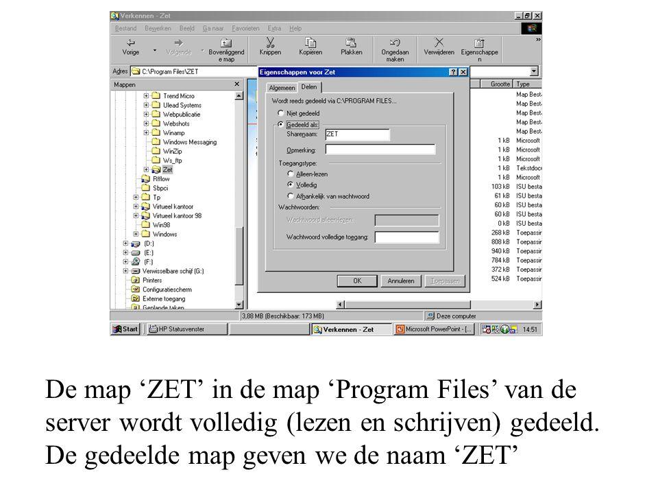 De map 'ZET' in de map 'Program Files' van de server wordt volledig (lezen en schrijven) gedeeld.