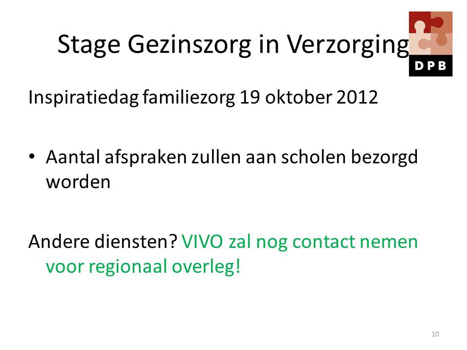 Stage Gezinszorg in Verzorging Inspiratiedag familiezorg 19 oktober 2012 Aantal afspraken zullen aan scholen bezorgd worden Andere diensten? VIVO zal