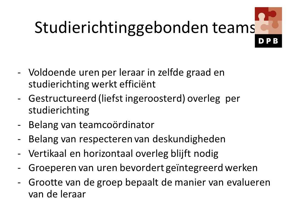 Studierichtinggebonden teams -Voldoende uren per leraar in zelfde graad en studierichting werkt efficiënt -Gestructureerd (liefst ingeroosterd) overle