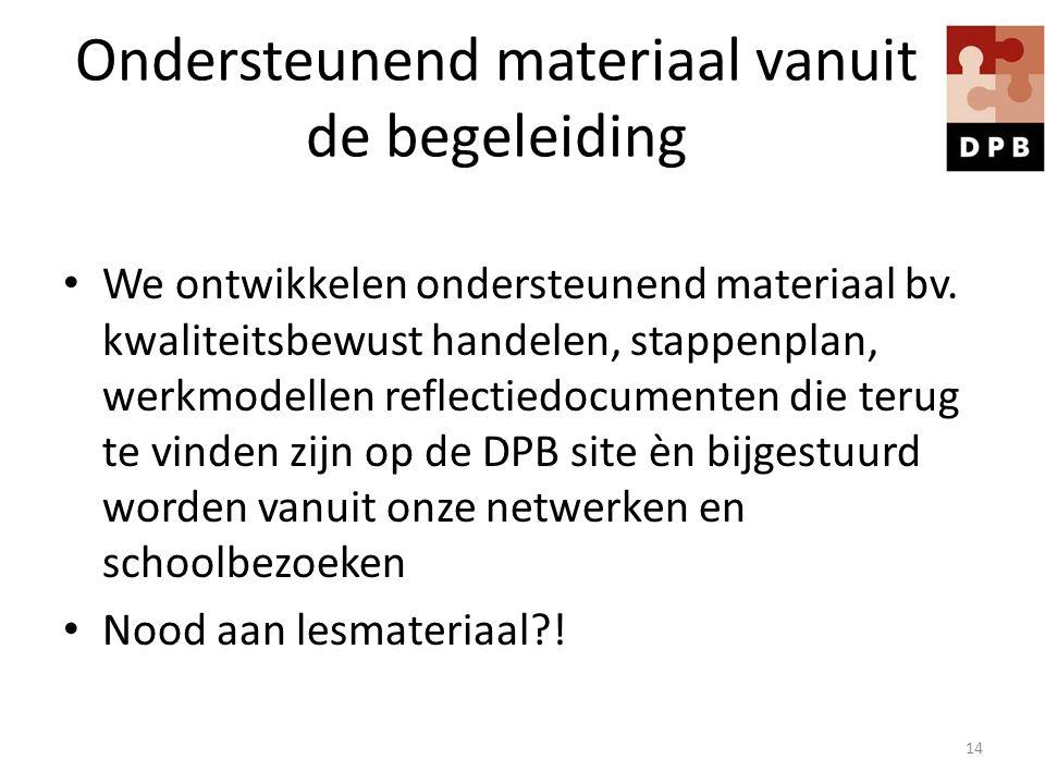 Ondersteunend materiaal vanuit de begeleiding We ontwikkelen ondersteunend materiaal bv. kwaliteitsbewust handelen, stappenplan, werkmodellen reflecti